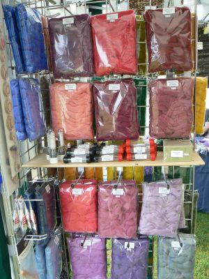 Display of different colours of merino tops